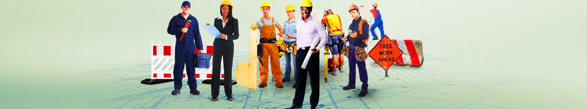 A photo illustration of various public works professionals, all of whom are represented by APWA